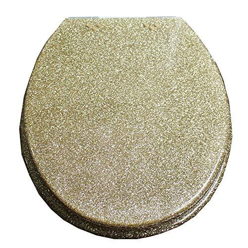 S-graceful WC-Sitze Golden Toilettendeckel Mit Langsamer Harnstoff-Formaldehyd-Harz Ultra Resistant Top Fixed U/V/O-Form Kompatibler WC-Sitzbezug,Gold-40~48cm*33~38cm -