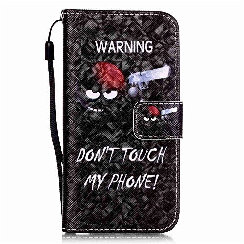 Nancen Apple iPhone 7 / 8 hülle, Flip Case Wallet Cover with Stand Function, Folio Bookstyle Handytasche Soft Silikon Bunte Muster Lederhülle Tasche PU Leder Slim Backcover Shell Handyhülle. Warnung - don't touch my phone