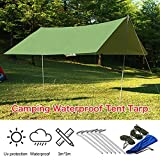 Regen Fly tragbar Wasserdicht Zelt leicht Regen Tarp Shelter (1Aufbewahrungstasche + 6Aluminium Spikes + 6Seile im lieferumfang enthalten)