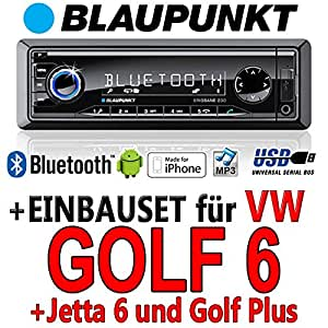 VW Golf 6 - BLAUPUNKT Brisbane 230 - MP3/USB Autoradio inkl. Bluetooth - Einbauset