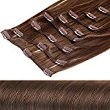 Clip In Extensions Haarverlängerung XXL Haarteile Set glattes Haar in 50 cm Laenge #8 hellbraun