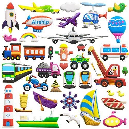 Puffy Aufkleber für Kinder 6Blatt (300+ Stück) Transport Car Themen-3D Cartoon Stil wiederverwendbar Schaumstoff Aufkleber Blatt, Spielzeug für Kids, Kinder, Jungen, Kleinkinder. (Kleinkind-jungen Für Party-themen)