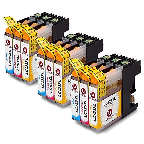 Preisvergleich Produktbild Uoopo Kompatibel Ersatz für Brother LC123 Schwarz Tintenpatronen, Multipack Patrone Use for Brother MFC-J470DW MFC-J4510DW MFC-J870DW DCP-J552W MFC-J6520DW MFC-J6920DW MFC-J6720DW DCP-J132W DCP-J4110DW MFC-J4610DW MFC-J4410DW DCP-J152W DCP-J172W DCP-J752W MFC-J650DW MFC-J4710DW Drucker.(3 Cyan 3 Magenta 3 Gelb)