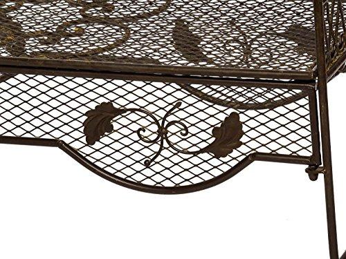 Nostalgie Gartenbank 134cm Metall Bank Garten Antik-Stil Gartenmöbel braun - 4