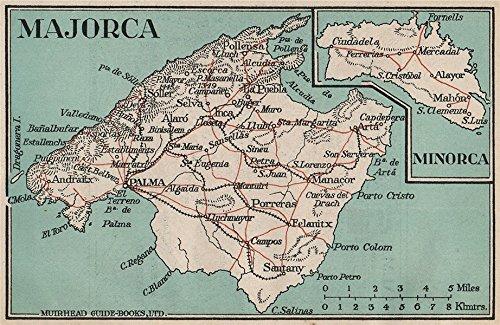 MAJORCA MINORCA Vintage map plan Spain Mallorca Menorca 1930