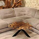 Möbel Bressmer Couchtisch Baumscheibe Brady - Höhe 60 cm | Unikat Wohnzimmer-Tisch aus Teakholz massiv | Der Eye-Catcher als Unikat der Natur in Handarbeit hergestellt