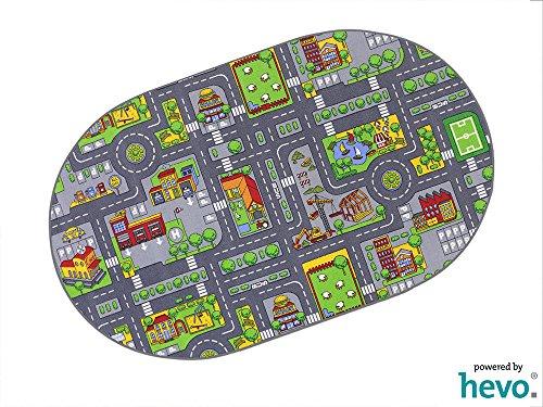 Stadt Mix HEVO® Strassen Spielteppich | Kinderteppich 200x280 cm Oval