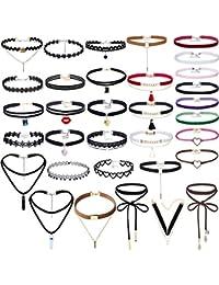 Mingjun 33pcs negro terciopelo multicapa larga cordones colores gargantilla collares con colgante borla moda ajustable conjuntos para mujeres niñas