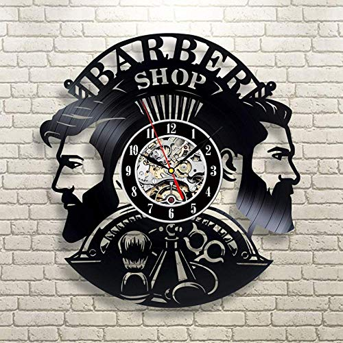 Barbería Reloj De Pared De Diseño Moderno Barbería Vinilo Relojes De Registro Peluquería Reloj De Pared Decoración De Pared para Barber Salon