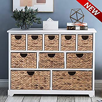Hartleys 3x3 Storage Unit 9 Drawer With Seagrass Baskets