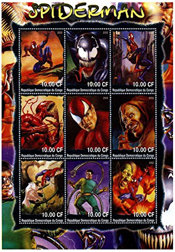 Timbres de collection Marvel / Spiderman pour collectionneurs - Illustration étonnante de Spiderman - nus - Neuf sans charnière