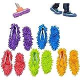 chaussons mop,5 Paires Multifonction Microfibre Poussière Mop Chaussures Chaussons De Nettoyage Pour La Maison, 5 Couleurs
