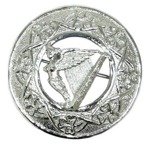 Tartanista - Herren Brosche für Fly Plaids - schottisch, irisch oder keltisch - Harfe - verchromt (Irische Traditionelle Kostüme)
