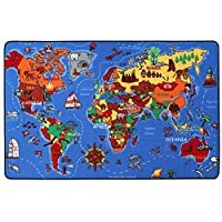 Childrens Rug Kids Play Mat - Village City, Playroom Roads Rug, Kids Nursery Carpet