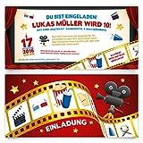 Einladungskarten Kindergeburtstag (100 Stück) Kino Film Ticket Motiv Einladung