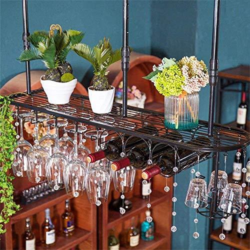 YXLONG Weinregal An Der Wand Befestigtes Wein-Countertop-Anzeigen-Wein-Halter-hängendes Weinglas-Gestell Schmiedeeisen-Metallindustrieller Art-Weinregal,100cm -