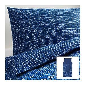 IKEA SMORBOLL - Housse de couette et 2 taies d'oreiller, bleu - 150x200 / 50x80 cm