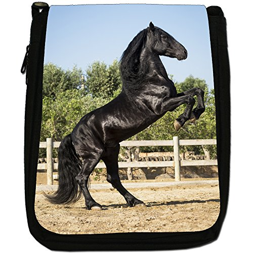 Nero Forte Bellezza Cavallo Stallone Medium Nero Borsa In Tela, taglia M Black Stallion Prances 2 Legs