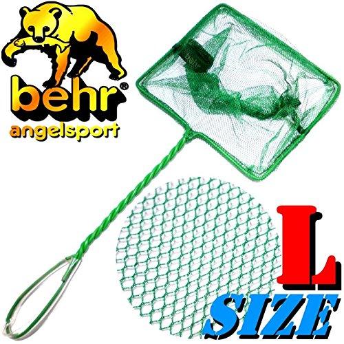 Behr Aquariumkescher Size L Large ca. 19X14X47cm Maschenweite ca. 2-3mm ideal für Aquariumfische, Fischbrut, Lebendfutter & Köderfische