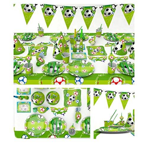 BESTOYARD Fußball-Geburtstags-Party-Dekorationen World Cup Theme Party Green festliche Supplies Dekoration Set mit Servietten Gabeln Messer Teller für Kinder Geburtstag Baby Shower Favor