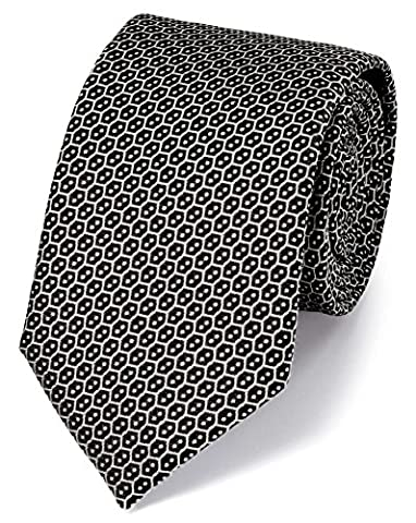 Black Silk Wire Lattice Classic Tie by Charles