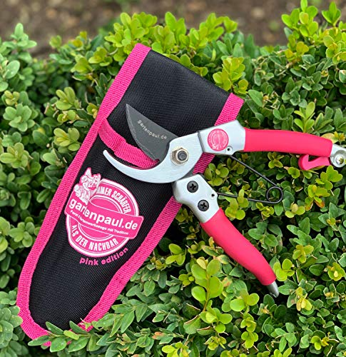 Gartenpaul | Pink Edition | Damen Bypass Gartenschere Lady mit Gürteltasche | Damengartenschere | Limitierte Auflage