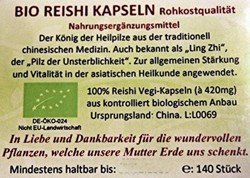 Regenbogenkreis Reishi Kapseln 420mg Bio, Rohkost, 140 Stück