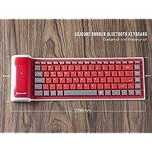 LinDon-Tech bastante portátil inalámbrico impermeable lavable silicona Flexible enrollable Bluetooth teclado para Tablet, Smartphone, ordenador portátil, batería de litio recargable, US-Layout (Rojo)