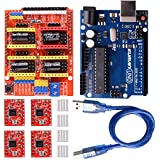 Kuman CNC Engraver Shield Expansion Board V3.0 + UNO R3 Board for Arduino+4pcs A4988 Stepper Motor Driver With Heatsink Kits for Arduino K75
