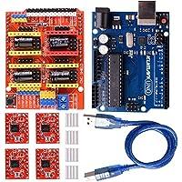 Kuman K75 Carte UNO R3+ Carte d'extention pour CNC Engraver+ Moteur pas à pas 4 pièces A4988 avec dissipateurs de chaleur pour imprimante 3D Arduino