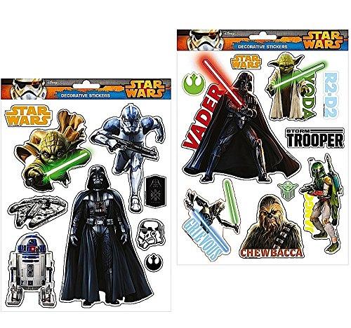 19 Mega-Aufkleber - STAR WARS - fürs Fahrrad / Fensterbilder / Wandtattoo / Wandsticker + 16 Star Wars Aufkleber - (Wars Amazon Buch Kostüme Star)