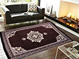 #5: Ab Home Decor Velvet Touch Abstract Chenille Carpet, 7 feet (Length) x 5 Feet (Width),Coffee