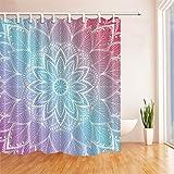 GWELL Boho Mandala Duschvorhang Wasserdicht Anti-Schimmel inkl. 12 Duschvorhangringe Badvorhang für Badezimmer Muster-G 180x180cm