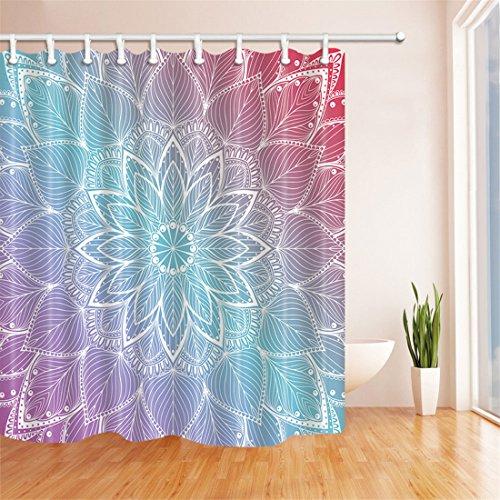 "GWELL cortina de ducha bañera cortina de protector de poliéster de impresión mandala resistente a prueba de molde cortina de ducha, Design 7, 180cm*210cm= 70""*82"""
