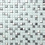 Glas Mosaik Fliesen Matte Weiß, Schwarz und Silber gebrochene und klare Glas Optik (MT0078)