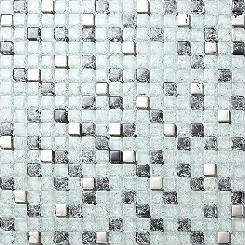 Schwarz-weiß-mosaik-fliesen (Glas Mosaik Fliesen Matte Weiß, Schwarz und Silber gebrochene und klare Glas Optik (MT0078))