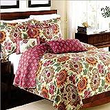 Beddingleer Tagesdecke 220x240 gesteppt Tagesdecken Bunt überdecke Patchwork Tagesdecken Bettwäsche Mädchen für Doppelbetten Vintage-Stil Schöne Blumen 3-tlg mit 2 Kissenbezügen