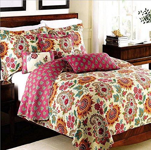 Gesteppte Queen Tagesdecke (Alicemall Tagesdecke Bettwäsche 3 Teilig 100% Baumwolle Bunter Blumenstickerei Quilt Soft Decke Couch Überwurf 230 x 250 cm und 2 Kissenbezüge 50 x 70 cm - Europäische Idyll)