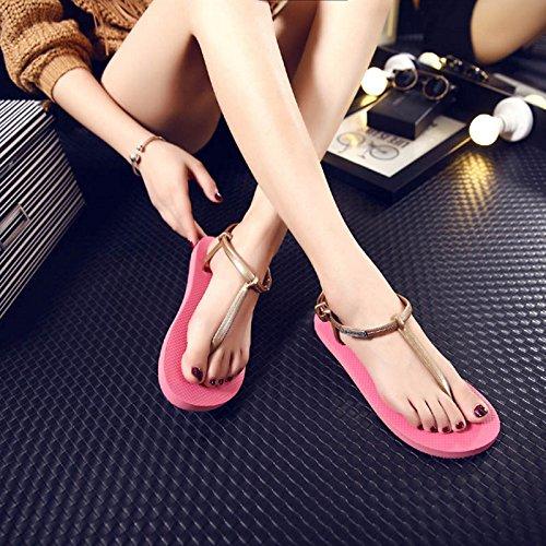 LGK&FA Estate Donna sandali infradito Flat pantofole ciabatte infradito estate spiaggia infradito sandali per le donne 39 Nero 38 red