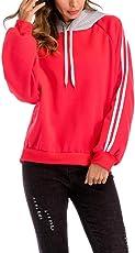 Saingace Women Girls Long Sleeve Casual Sports Running Hoodies Sweatshirt Drawstring Hooded Pullover Tops