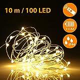 ifrigga Luces de hadas mejoradas con control remoto 100 LEDs 33ft / 10M AA Funciona con pilas Luces de centelleo de alambre de cobre impermeable (Blanco cálido)