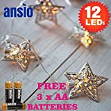12 gelb warmweiß silber Filigran Stern Indoor Fairy Lights - LED Lichterketten - Batteriebetrieben - Ideal für Weihnachten, Festlich, Hochzeit / Geburtstag Partydekorationen - Gesamt 1.7m Clear Cable