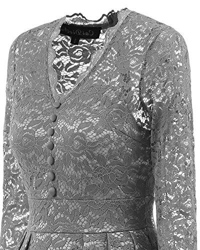Adodress Elegantes Frauen Kleid Spitze Kleid CocktailKleid Knielanges Weinlese 50s Hochzeitsfest Ballkleid Grau