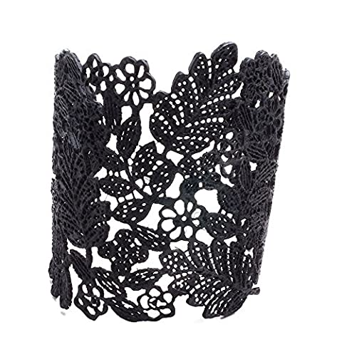 Bracelets réglables en argent sterling doré en manchette pour femmes Black B005-3