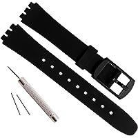 Cinturino di ricambio per orologio Swatch da 12 mm, impermeabile, in gomma siliconica, colore: nero