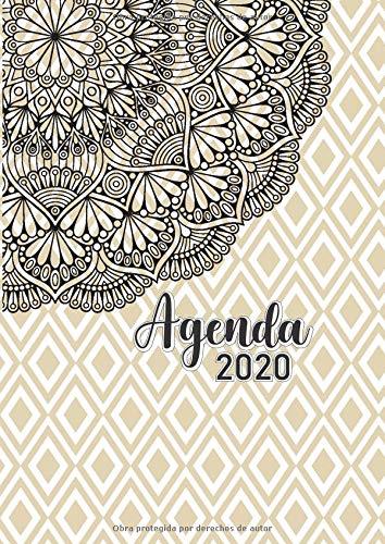 Agenda 2020: Tema Mandalas Agenda Mensual y Semanal + Organizador Diario I Planificador Semana Vista A4 Color Beige