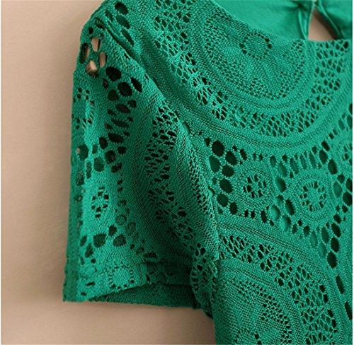 QIYUN.Z Manches Courtes Femmes D'ete Courte Robe De Changement Massif evider Crochet En Dentelle Vert