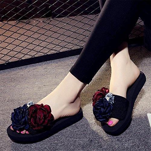 pengweiLe signore handmade delle pantofole con i sandali delle rose mescolano i pattini casuali della spiaggia 1