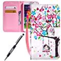 For Samsung Galaxy S5 case,Feeltech JAWSEU Samsung Galaxy S5 PU leather Wallet Flip Cover Multi Function Card Slots Protective Cases with Cute Animal & Colourful Pattern Design [Stand Function][Magnetic Closure] Flip Folder Card Holders Money Pouch Smart
