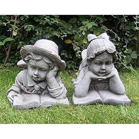 Ragazzo e ragazza con libro, statua ornamentale da giardino in pietra–Coppia di giardino